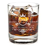 1990 30th Birthday Whiskey Glass for Men and Women - Vintage Funny Anniversary Gift Idea for Him, Her, Husband, Wife – 30 Year Old Gifts for Mom, Dad - Party Favors, Decorations - 11 oz