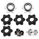 6 Pcs Spinlock Collars, Standard Barbell Collars Screw Clamps, Anti-Slip Hex Nut Screw Weight Collars, Spin-Lock Weight Bar Clamps for Dumbell Weight Lifting Fitness Training