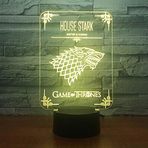Game Of Thrones House Stark Wolf Lámpara de acrílico Ilusión 3D Led 7 colores Cambio de lámpara de escritorio USB Usb Kid's Birthday Gift