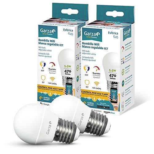 Garza Smarthome - Pack 2 Bombillas LED Esférica Intelegente Wifi E27, luz blanca neutra regulable con cambio de intensidad y temperatura. Programable, compatible con Amazon Alexa...