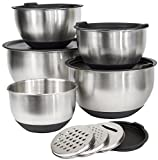 [Deluxe Set] 5 Premium Grade Stainless Steel Mixing Bowl Set with Lids...