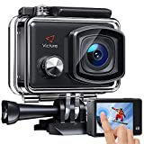 Victure AC900 4K 30fps Action Camera 20MP WiFi Touch Screen 30M Underwater Recording Camera PC Webcam Sports Cam with 2 1350mAh Rechargeable Batteries and Helmet Accessories Kit Included