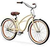 sixthreezero Women's 3-Speed 26-Inch Beach Cruiser Bicycle, Scholar Cream w/Brown Seat/Grips