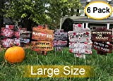 YardSigns for HalloweenBeware Signs Yard Stakes Warning Yard Sign Stakes for Halloween Decorations Outdoor Lawn Decorations, 6 Pack 15' x 11' Yard Decorations for Haunted House, Scary Theme Party