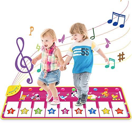 Vimzone Tappetino da Ballo per Pianoforte, Gioco Musicale per Bambini Tappetino per Tappeti Touch Play Tastiera Coperta Strumento Musicale Educativo Regali Giocattolo per Bambini Piccoli