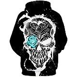 WYBD 2021 Nouveau Mode Sweat A Capuche Homme, Pull A Capuche Homme Marque T Shirt Manches Longues Tete De Mort Imprimé Oversize Ample Pas Cher Casual Tee Shirt Sweatshirt T Shirt Sport Top Blouse Haut