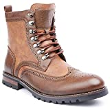 Polar Fox Cohen MPX808586 Mens Wingtip Motorcycle Combat Boots with Zipper - Brown, Size 9.5