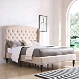 Classic Brands Brighton Upholstered Platform Bed | Headboard and Metal Frame with Wood Slat Support, Queen, Linen