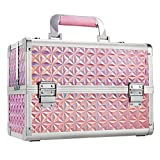 Costravio Extra Large Makeup Box 13 inch Cosmetic Train Case Large Capacity Tier Tray with Jewelry Tray Mirror Lockable Keys Large Bottom Jewelry Storage Cosmetic Case Organizer - Shiny Pink
