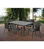 Garten-Tisch Fixed Geflochtene Stil Rattan anthrazit - 2