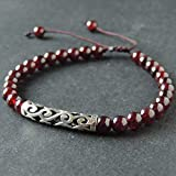 Red Garnet Gemstone Bracelet for Men's Women's 925 Sterling Silver Blessing Sign Charm Protection Handmade Adjustable Braided Drawstring with January Birthstone Healing Fashion Jewelry