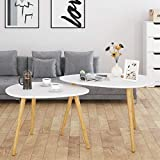 HOMFA Large Nesting Coffee Tables for Living Room, Drop Shape End Side Tables Sofa Console Tables Modern Decor Furniture for Home Office (White, Set of 2)