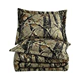 Chezmoi Collection Salem 3-Piece Forest Woods Comforter Set - Nature Camo Tree Leaves Printed Soft Microfiber Bedding - Natural, Queen