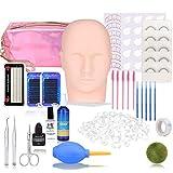 Eyelash Extension kit, MYSWEETY 19PCS Professional Eyelashes Kit False Eyelashes Extension Glue Tool Practice Kit for Makeup Practice Eye Lashes Graft with Mannequin Training Head