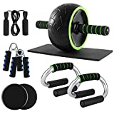 Odoland 6-in-1 Large Size AB Wheel Roller Set with Push Up Bars Gliding Discs Jump Rope Hand Exerciser Knee Pad, Home Gym Workout Set for Body Training