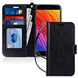 FYY Case for iPhone 8 Plus/iPhone 7 Plus,[Kickstand Feature] Luxury PU Leather Wallet Case Flip Folio Cover with [Card Slots] [Wrist Strap] for Apple iPhone 8 Plus 2017/7 Plus 2016 (5.5') Black