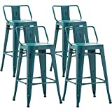 AKLAUS Metal Bar Stools Set of 4 Counter Stools with Backs Counter Height Stools Teal Bar Chairs 26 Inch Distressed Teal