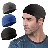 Go-sport 3 Pack Cooling Skull Cap Helmet Liner Sweat Wicking Cycling Running Hat for Men Women, Black+royal Blue+grey, Medium