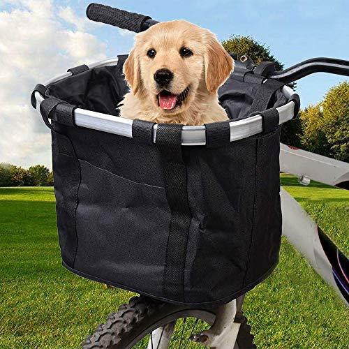 LIFAVOVY Fahrradkorb, faltbar, abnehmbar, leicht anzubringen, schnell zu entfernen, für Haustiere, Katzen, Hund, Abnehmbarer Fahrradkorb, multifunktional, Schwarz