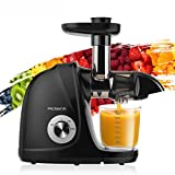 Juicer Machines, Picberm PB2110A Slow Masticating Juicer Extractor with Quiet Motor Easy to Clean, BPA-Free Anti-clogging Cold Press Juicer with Brush, Recipes for Fruits and Vegetables, Black