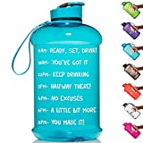 HydroMATE Half Gallon 64Oz Motivational Water Bottle with Time Marker Large BPA Free Jug with Handle Reusable Leak Proof Bottle Time Marked to Drink More Water Daily Hydro MATE (Turquoise)