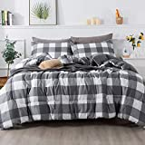 Andency Light Gray Plaid Comforter Queen(90x90 Inch), 3 Pieces(1 Plaid Comforter and 2 Pillowcases) Buffalo Check Plaid Comforter Set, Microfiber Down Alternative Comforter Bedding Set