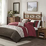 Madison Park Serene Faux Silk Comforter Floral Embroidery Design All Season Set, Matching Bed Skirt, Decorative Pillows, King(104'x92'), Red, 7 Piece