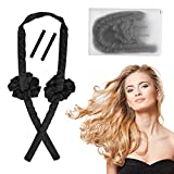 Heatless Curling Rod Headband, No Heat Hair Curler with Hair Clips and Scrunchie, Heatless Curling Silk Ribbon for Long Hair Curls, Soft Rubber Hair Curlers Rollers for Sleep in Overnight, Black