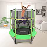 LBLA Kids Trampoline, 55' Mini Trampoline for Kids with Enclosure Net and Safety Pad, Heavy Duty Frame Round Trampoline with Built-in Zipper for Indoor Outdoor (Green)