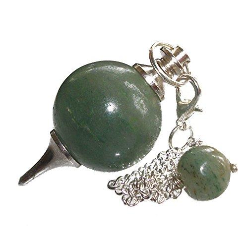 Péndulo esférico para radiestesia y sanación en Cristales de Piedra Semipreciosa Genuina (Aventurina Verde)