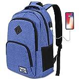 Mochilas Escolares Juveniles,Mochila para portátil con Puerto de Carga USB,para Escolar Negocio Trabajo