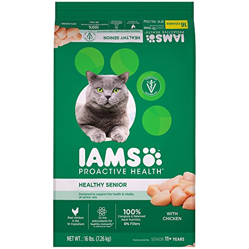 IAMS PROACTIVE HEALTH HEALTHY SENIOR Dry Mature Cat Food with Chicken Cat Kibble, 16 lb. Bag