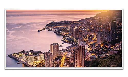 Montecarlo Monaco ca. Quadro da parete, 130 x 70 cm, con cornice a nido d'ape, bianco, panoramico, formato XXL, decorazione da parete per soggiorno e casa