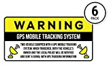 Anti-Theft Car Vehicle Stickers with GPS Tracking Warning (Pack of 6 Decals)