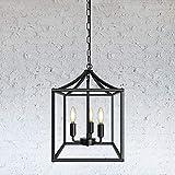 Black Farmhouse Chandelier Lantern Pendant Lighting Industrial Ceiling Light Fixture for Kitchen Dining Room Bedroom Foyer (3-Light)