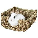 starter Lit Naturel et nid d'herbe, lit d'animal tissé d'herbe et Jouets pour des cobayes Chinchillas et...
