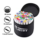 Artify Artist Alcohol Based Art Marker Set 80 Colors Dual Tipped Twin...