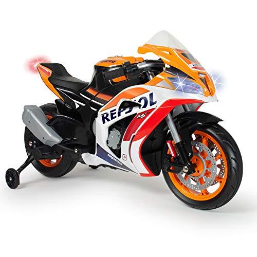 INJUSA - Moto Repsol 12V Orange avec Licence Officielle recommandée pour Les Enfants de +3 Ans avec Lumières et Sons et Bandes en Caoutchouc sur Les Roues