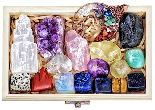 AtPerry's 16 Natural Healing Crystals Set in Wooden Box -...