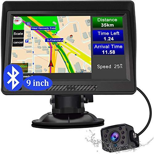 Sat Nav, 9 inch Bluetooth Truck Satnav with Reverse Camera Car GPS Navigation Latest Sat Navs for Cars Caravan HGV Lorry Bus (25m Cable Length)