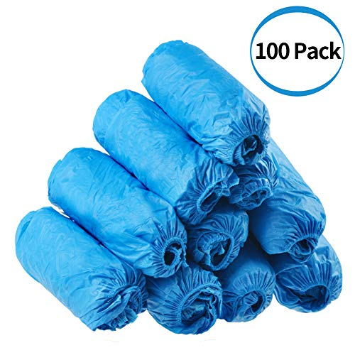 Dssiy 100 Pack Disposable Hygienic Shoe & Boot Covers for Construction, Workplace, Indoor Carpet Floor Protection,One Size Fits Most.