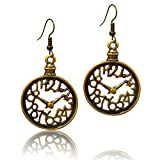 Stay Calm Talking Tables Fairy Tales - Truly Antique Bronze Numeral Clock Tea Party Steampunk Victorian Dangle Earrings (earring2004)