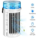 Portable Air Conditioner Fan【2020 Newest】Personal Air Cooler Mini 4 in 1 Space Evaporative Air Cooler Quiet Humidifier Misting Cooling Fan 8 Colors LED Light, 3 Speeds for Office Home Room Camping