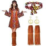 Women Hippie Costume Set Peace Sign Earring Necklace Headband Dress Ankle Socks (M)
