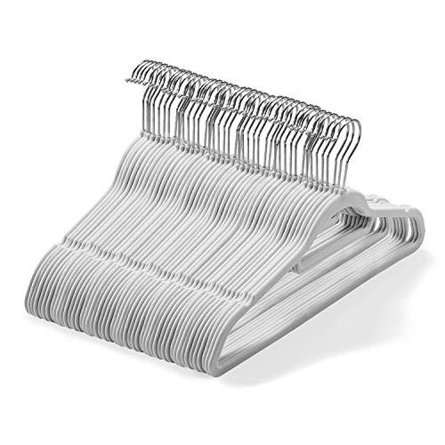 Set di 50 grucce in velluto (45 cm) Grucce antiscivolo con barra di legame e gancio girevole a 360 gradi Grucce di Armadio organizzazione, robusto e salvaspazio per abiti, giacche (grigio)