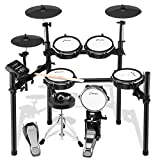 Electric Drum Set, Donner DED-200 Mesh Head 8 Piece Electronic Drum Kit with 225 Sound , Electric Drum for for Beginner, Drum Throne, Sticks Headphone and Audio Cable Included, More Stable Iron Metal Support Set