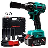 Kinswood Rechargeable Cordless Impact Wrench kit 21V with Drill Set Heavy Duty Led Light Free Case & work Glove (1 battery)