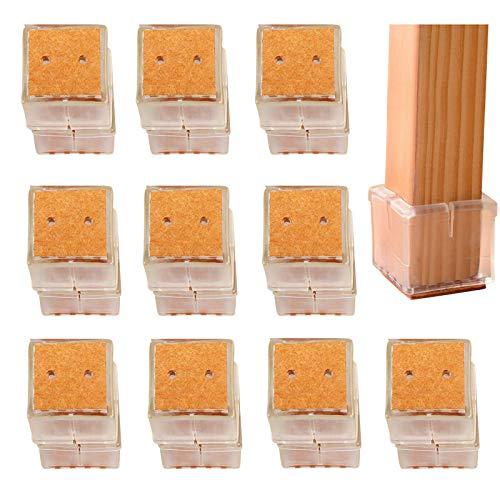 BelleStyle Sedia Gamba Tappi Piedi pastiglie, 20Pcs Piazza Piedini per tappeti in Silicone per tappeti coprisedili per tappeti per tappeti 30-35MM - Trasparente (Square/3-3.5cm)
