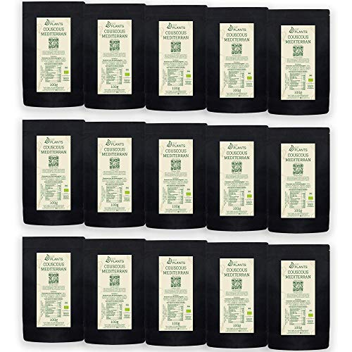 eatPLANTS - Couscous | 100% BIO, verschiedene Größen & Geschmacksrichtungen, ohne Zusatzstoffe, schnelle Zubereitungsweise (Mediterran, 15er Pack)