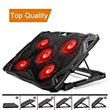 Pccooler Laptop Cooling Pad, Laptop Cooler with 5 Quiet Red LED Fans for 12-17.3 Inch Laptop, Dual USB 2.0 Ports, Portable 6 Angle Adjustable Laptop Stand for Gaming Laptop (PC-R5)
